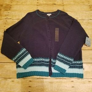 IZOD Womens Button up Sweater Large NWT Northern L